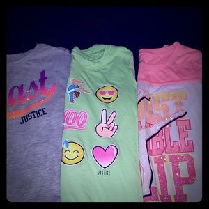 Girls justice shirt lot